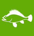 Rose fish sebastes norvegicus icon green vector image