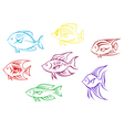 Set of seven aquarium fish silhouettes vector image