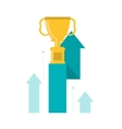 trophy cup and up arrow icon vector image