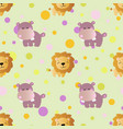 pattern with cartoon cute toy baby behemoth vector image