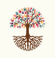 Tree hand for diverse people team help vector image