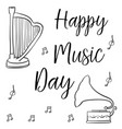 hand draw music day greeting card collection vector image