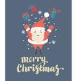 Cute Santa Claus jumping with Christmas presents vector image