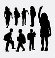 school girl and school boy silhouette vector image