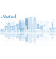 Outline Montreal skyline with Blue buildings vector image