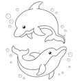 Cartoon Dolphins outline vector image