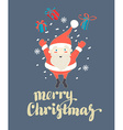 Cute Santa Claus jumping with Christmas presents vector image