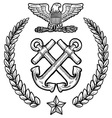 doodle us military wreath navy vector image