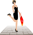 girl with shopping bags against a roadway vector image