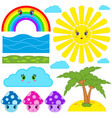 set of isolated colored cartoon figurines vector image