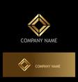 square shape geometry gold logo vector image