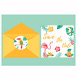 tropical invitation card with bright birds vector image