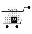 Basket calendar twenty fifth of november icon vector image