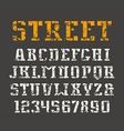Stencil plate serif font and numerals vector image