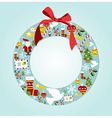 Season icon set in Christmas wreath vector image