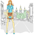 fashionable attractive girl in St Petersburg vector image