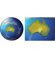 Australia map on the globe vector image