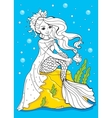 Coloring Book Of Beauty Mermaid Sitting On Stone vector image