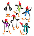 funny penguins set vector image