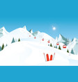 winter mountain landscape with pair of skis in vector image