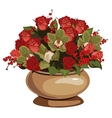 Beautiful bouquet of red roses with decor in vase vector image vector image
