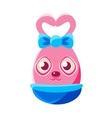 Easter Egg Shaped Pink Easter Bunny With Bow vector image