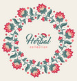 floral round frame jacobean style flowers wreath vector image