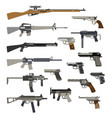 different automatic weapons vector image