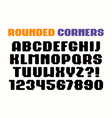 sanserif square font with rounded corners vector image