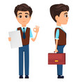 businessman showing ok sign and holding briefcase vector image vector image