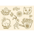 Hand drawn doodle Easter symbols vector image
