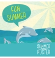Cute summer poster - Dolphins jumping in the ocean vector image