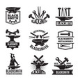 black logos for blacksmith vintage labels set vector image