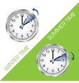 Clock showing summer and winter time vector image