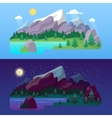 Nature Mountain Landscape Day and Night vector image