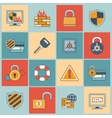 Security icons set flat line vector image