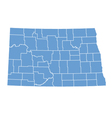 State map of North Dakota by counties vector image