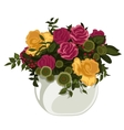 Beautiful bouquet of red and yellow roses in vase vector image
