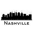 Nashville City skyline black and white silhouette vector image