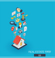 real estate integrated 3d web icons growth and vector image