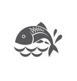 black fish icon vector image