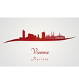 Vienna skyline in red vector image