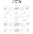 Simple 2015 year calendar grid vector image