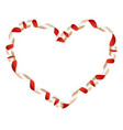 Red ribbon in heart shape EPS 10 vector image vector image