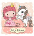 cute cartoon fairy tale princess and unicorn vector image