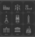 europe landmarks in outline style vector image