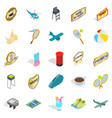 hit icons set isometric style vector image
