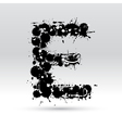 Letter E formed by inkblots vector image