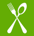 spoon and fork icon green vector image