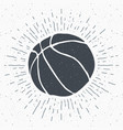 vintage label hand drawn basketball ball sketch vector image